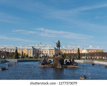The Petergof or Peterhof, known as Petrodvorets from 1944 to 1997 and Neptune Fountain on May 12, 2018 in St. Petersburg, Russia