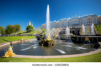 PETERGOF, RUSSIA, 06.04.2017 Grand cascade in Pertergof, St-Petersburg. the largest fountain ensembles in the world, comprising more than 60 water fountains. Wide angle lens and long exposition.
