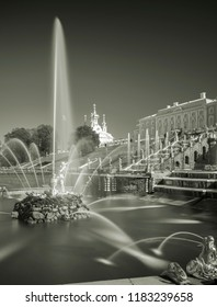 PETERGOF, RUSSIA, 06.04.2017 Grand cascade in Pertergof, St-Petersburg. the largest fountain ensembles in the world,  more than 60 water fountains. Wide angle lens .Black and white image.