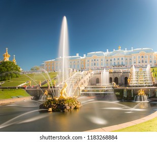 PETERGOF, RUSSIA, 06.04.2017 Grand cascade in Petergof, St-Petersburg. the largest fountain ensembles in the world, comprising more than 60 water fountains. Wide angle lens and long exposition.