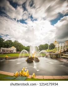 PETERGOF, RUSSIA, 14.08.2018 Grand cascade in Petergof, St-Petersburg. the largest fountain ensembles. Wide angle lens and long exposition. Samson fountain as main statue.