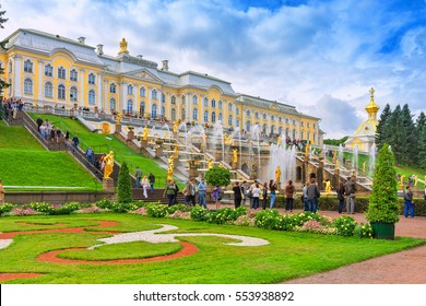 PETERGOF, RUSSIA - AUGUST 22, 2016: Grand cascade in Pertergof or Peterhof, known as Petrodvorets from 1944 to 1997. The Peterhof Palace included in the UNESCO's World Heritage List.