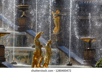 PETERGOF / RUSSIA - JULY 2015: Fountain in Petergof palace park, Russia