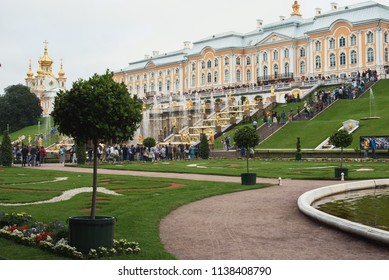PETERGOF, RUSSIA - July 21, 2016: Peterhof Palace at St.Petersburg