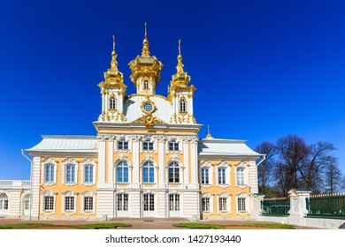 Petergof, Russia - May 05, 2016: Chapel with golden domes, one of a pair flanking the main palace. Upper garden in Peterhof