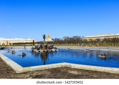 Petergof, Russia - May 05, 2016: Neptune Fountain in Upper garden in Peterhof