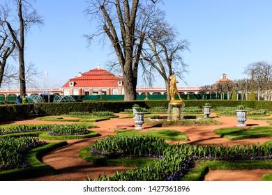 Petergof, Russia - May 05, 2016: Kolokol Fountain near Monplaisir Palace in the Lower Garden of Peterhof sunny spring day