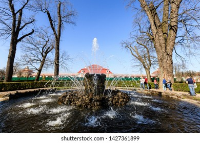 Petergof, Russia - May 05, 2016: Snop Fountain near Monplaisir Palace in the Lower Garden of Peterhof sunny spring day