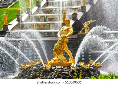 PETERGOF, RUSSIA - MAY 27, 2013: Samson Fountain of the Grand Cascade in Peterhof Palace.