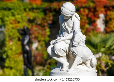PETERGOF / RUSSIA - SEPTEMBER 2015: Fountain in the garden of Farm Palace in Alexandria park, Petergof, Russia