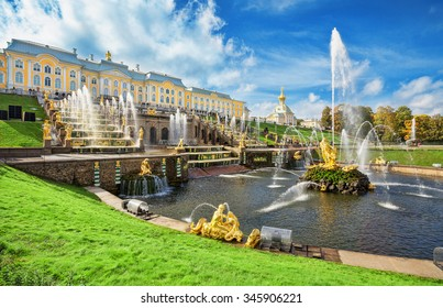 PETERGOF, RUSSIA - SEPTEMBER 23, 2015: Grand cascade in Pertergof or Peterhof, known as Petrodvorets from 1944 to 1997. The Peterhof Palace included in the UNESCO's World Heritage List.