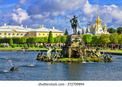 PETERGOF, RUSSIA - SEPTEMBER 23, 2015: Neptune Fountain in Pertergof or Peterhof, known as Petrodvorets from 1944 to 1997. The Peterhof Palace included in the UNESCO's World Heritage List.