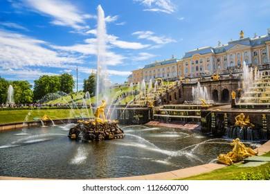 "PETERGOF, SAINT PETERSBURG, RUSSIA - JUNE 01, 2018: View of the fountain ""Samson"" in the state Museum-reserve ""Peterhof"", Peterhof, Russia"