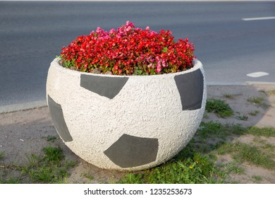 Petergof, St. Petersburg, Russia - August 09, 2018: A flower bed in the form of a soccer ball