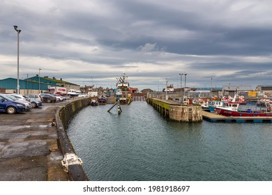 Peterhead, Aberdeenshire, Scotland, UK - 05 February 2016: View of the industrial area. A port and shipyard in a small Scottish town on the shores of the North Sea.