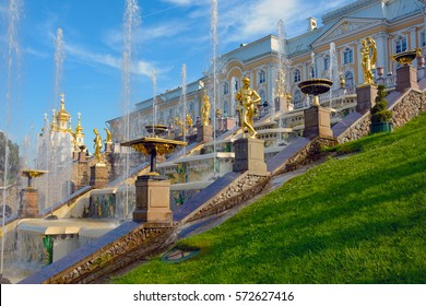 Peterhof, fountains and statues of the Great cascade