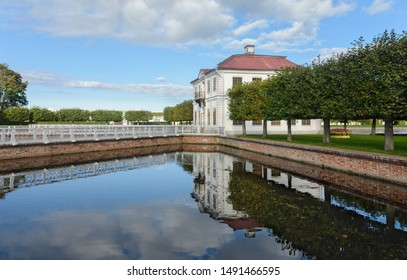 Peterhof. Lower park. Marley Palace. St. Petersburg. Russia. 09/17/2017. A miniature palace pavilion in the western part of the Lower Park of the Peterhof Palace and Park Ensemble.