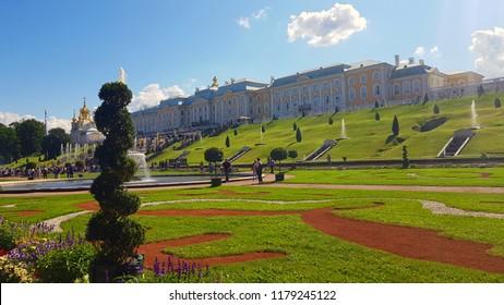 peterhof palace blooming garden park landscape Russia