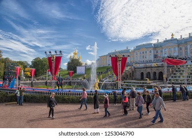 The Peterhof Palace is a series of palaces and gardens located in Petergof, Saint Petersburge, Russia - September 18, 2018.