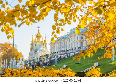 Peterhof Palace at St.Petersburg, Peterhof Palace the largest fountain ensembles in autumn, Russia.