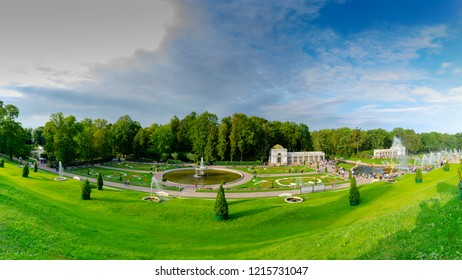 Peterhof park, Peterhof, Saint-Petersburg / Russian federation - august 23, 2018