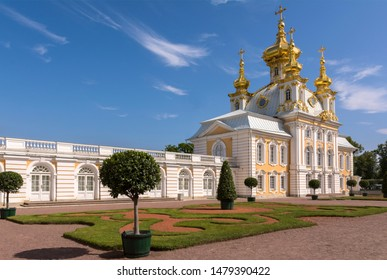 Peterhof, Russia, 08 aug 2019. Peter and Paul Church in the Grand Peterhof Palace. Russia. Since 1750.