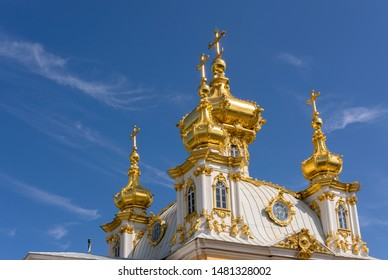 Peterhof, Russia, 08 aug 2019. Dome of Peter and Paul Church in the Grand Peterhof Palace. Russia. Since 1750.