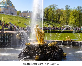 Peterhof, Russia, 18.05.2019. Memorial fountain in Peterhof, in honor of the victory of Peter the Great over Sweden - Samson, tearing the lion's mouth