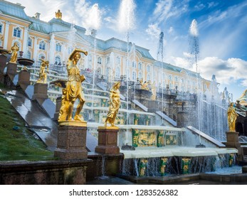 Peterhof, Russia- September 28 2018: Grand Cascade and fountain in Peterhof palace, St. Petersburg, Russia