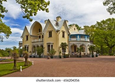 PETERHOF, RUSSIA  -  8 JUNE, 2017:  Photo of Palace Cottage. Alexandria Park.