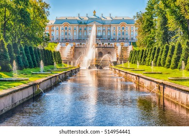 PETERHOF, RUSSIA - AUGUST 28: Scenic view over Peterhof Palace and Sea Channel, Russia, on August 28, 2016. The Peterhof Palace and Gardens complex is recognized as a UNESCO World Heritage Site
