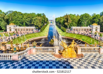 PETERHOF, RUSSIA - AUGUST 28: Scenic view from the terrace of Peterhof Palace, Russia, on August 28, 2016. The Peterhof Palace and Gardens complex is recognized as a UNESCO World Heritage Site