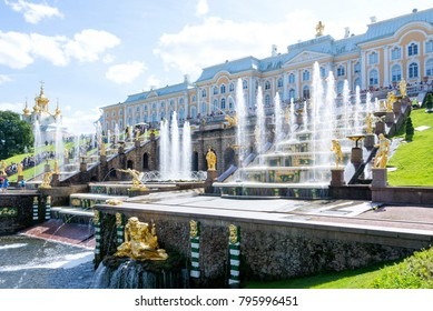 Peterhof, Russia, August 9, 2017: The Palace and Park complex of Peterhof. View of the large main fountain cascade