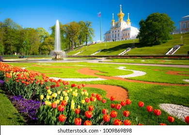PETERHOF, RUSSIA, Church and tulips  Wide angle lens and long exposition.