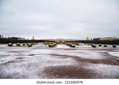 PETERHOF, RUSSIA - FEBRUARY 20, 2014: View of Grand Peterhof Palace in the upper garden of Peterhof, Saint-Petersburg, Russia