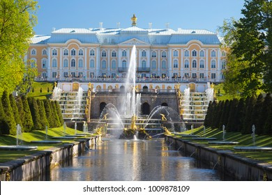 PETERHOF, RUSSIA,  Grand cascade in Pertergof, St-Petersburg. the largest fountain ensembles. Summer blue sky.