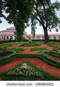 PETERHOF, RUSSIA - JULY 01, 2014: Royal residence in Monplaisir garden of lower park in Peterhof, Saint Petersburg, Russia