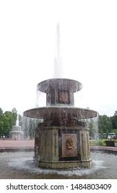 PETERHOF, RUSSIA - JULY 01, 2014:View of Lower Park and Roman Fountains in Peterhof,St. Petersburg.