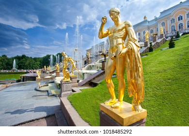 PETERHOF, RUSSIA - July 07, 2014: Gold sculptures of Grand Cascade fountain composition in The State Museum Preserve Peterhof.