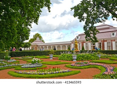 PETERHOF, RUSSIA - JULY 24, 2015: View of the Monplezirsky garden and palace Monplezir