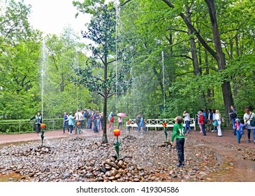 PETERHOF, RUSSIA - JULY 24, 2015: Tourists about the Oaklet fountain cracker