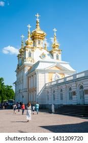 PETERHOF, RUSSIA - JUNE 06, 2019: Grand Palace in Petergof, St Petersburg