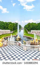 PETERHOF, RUSSIA - June 07.06: The territory of the palace and park complex. Grand Cascade