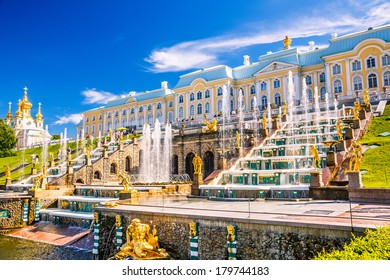 PETERHOF, RUSSIA - JUNE 22, 2012: Grand Cascade in Peterhof, St Petersburg, Russia on June 22, 2012. The Peterhof palace was included in the UNESCO's World Heritage List in 1991.