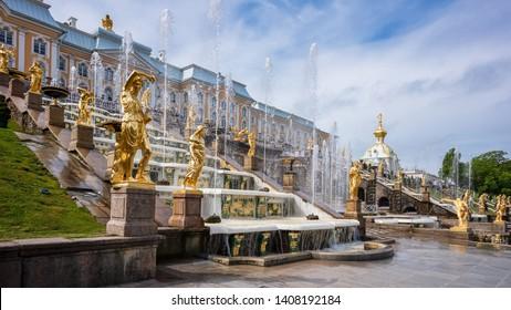 PETERHOF, RUSSIA, MAY 25, 2019: The Peterhof Palace is located in Petergof about 50 km outside of Saint Petersburg - Peterhof, Russia
