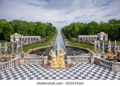 PETERHOF, RUSSIA, MAY 25, 2019 - The Peterhof Palace is located in Petergof about 50 km outside of Saint Petersburg. The property was build in 1709 as a summer residence - Peterhof, Russia.