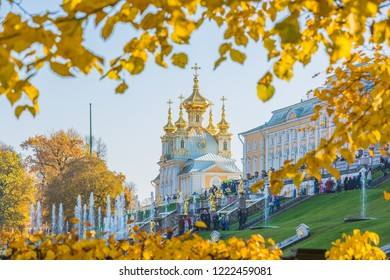 PETERHOF, RUSSIA, OCTOBER 13, 2018 : Peterhof Palace at St.Petersburg, Peterhof Palace the largest fountain ensembles in autumn, Russia.