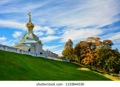 Peterhof / Russia — October 4, 2015: Peterhof Palace Church seen in the autumn. Peterhof is a former tsar palace and a popular tourist attraction located outside Saint Petersburg, Russia