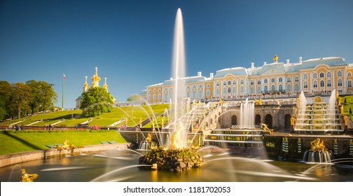 PETERHOF, RUSSIA,14.08.2018.  Grand cascade in Pertergof, St-Petersburg. fountain ensembles i more than 60 water fountains. Wide angle lens and long exposition.Gloomy sky and clouds.