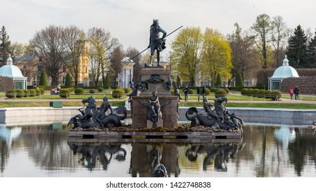 Peterhof, Russia-May 07, 2019: Neptune fountain in the Upper garden, Peterhof, Russia.